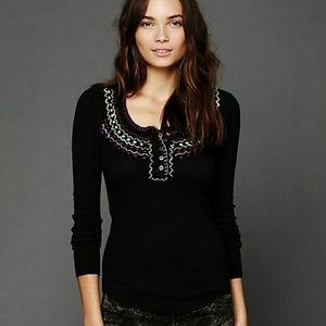 Free People We The Free Blanket Stitch Henley Top
